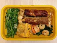 減醣便當|梅花豬肉捲白精靈菇+韭菜炒蝦仁