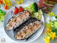 黑胡椒蝦仁飯糰。台塑餐飲-黑胡椒醬做好料