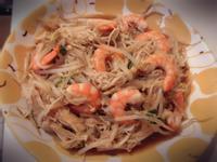 鮮蝦炒豆芽菜 金針菇