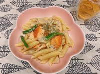 奶油鮮蔬鮭魚義大利麵