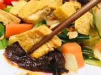 嫩煎雞蛋豆腐佐椒麻干貝醬
