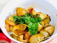 三杯杏鮑菇 + 蝦仁 (鑄鐵鍋 )