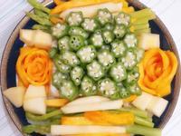 蘆筍豆腐秋葵創意水果擺盤
