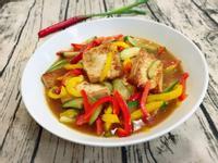 煎豆腐燴甜椒小黃瓜------素食料理