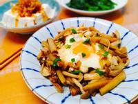 牛蒡蓋飯+梅醬冷豆腐+燙青菜