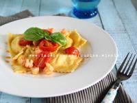 多利魚義大利麵餃佐小番茄鮮蝦sauce
