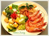Mimi♥鹽烤大蝦+水果蘿蔓沙拉+義大利麵