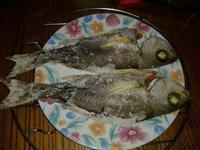 家用烤箱試做烤魚~鹽烤黃雞魚