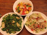 彩椒雞丁、麻油枸杞皇宮菜、培根高麗菜