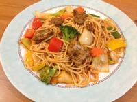【吳双の愛妻料理】農家風味的豬肉蔬菜義大利麵