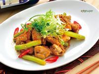 【居酒屋料理】雞肉蘆筍辣味噌炒