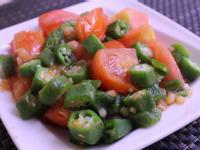 秋葵炒番茄顧腸餐