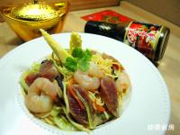 鮮蝦臘腸炒麵[榖盛壽喜燒]