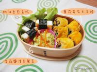 蔥花昆布玉子燒/奶油香煎魚板/香蒜鹽漬高麗菜