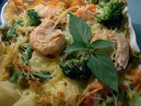 剩餘奶油白醬變身海鮮焗烤義大利麵