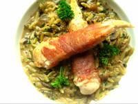 帕瑪火腿雞肉卷佐牛肝蕈米型麵