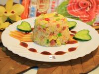 火腿蛋炒三色米飯【博客原味條狀火腿】