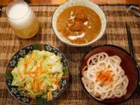 肉丸子咖哩烏龍 + 炒高麗菜