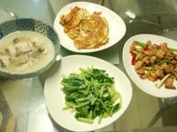 鱸魚湯+炒青菜+菲苗鹹豬肉+菜脯蛋