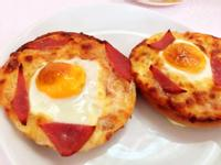 焗烤貝果太陽蛋<也可用吐司代替>