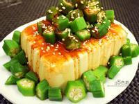 韓式醋辣醬拌秋葵蛋豆腐