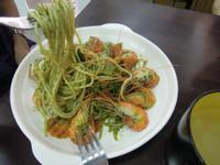 青醬乾炒蝦子義大利麵