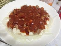鱈魚肝豆腐佐紅醬