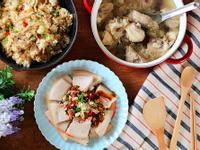 一鍋出一桌:肉絲炒飯+蒜泥白肉+銀耳雞湯