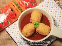 蕃茄淋醬酥脆炸飯糰【蕃茄醬懶人料理】
