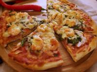 菠菜蝦仁披薩 (無油薄皮)