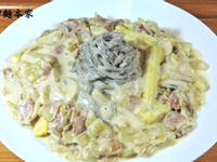 蘑菇培根白醬義大利麵