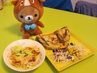 蔥油餅捲+吐司塊沙拉【小七野餐趣】