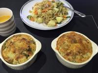 奶油馬鈴薯雞肉蔬菜焗烤麵