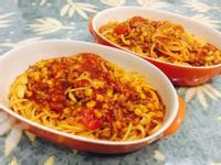 蕃茄玉米肉醬起司義大利麵