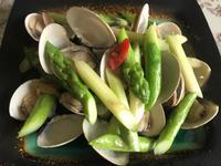 ♡粗蘆筍炒蛤蜊♡