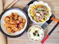 香筍飯+粉蒸排骨+鹹酥雞。牛頭牌厲害電鍋