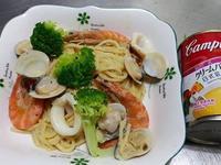 南瓜海鮮義大利麵  【金寶湯】