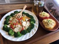 蛋白質滿點の清炒蔬菜雞胸義大利麵。