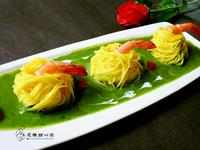 鮮蝦麵線佐波菜醬