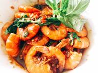 【沙茶塔香鮮蝦】-方便快速快炒店風味❤️