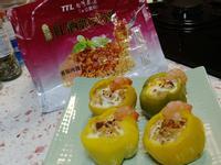 甜椒鑲蛋佐蝦仁,營養滿分~【紅酒帕式達】
