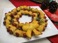 聖誕花圈可頌香腸捲