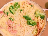 奶油培根義大利麵+玉米濃湯