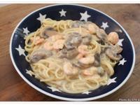 簡易白醬蘑菇蝦仁義大利麵