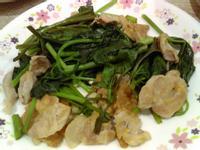 地瓜葉炒豬肉片