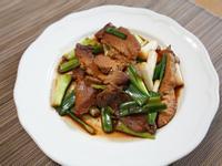 蔥燒豬肉片。簡易便當菜