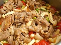 番茄+雪白菇炒肉片