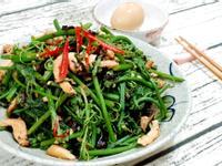 龍鬚菜炒豆豉肉絲
