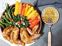 孜然雞翅香蔥鮮蔬炸物拼盤
