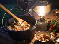 鑄鐵鍋超簡單露營料理-麻油雞肉拌飯